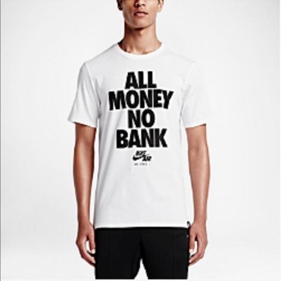 "968ada6f88df New Nike Air Force 1 ""All Money no Bank"" XL Shirt"